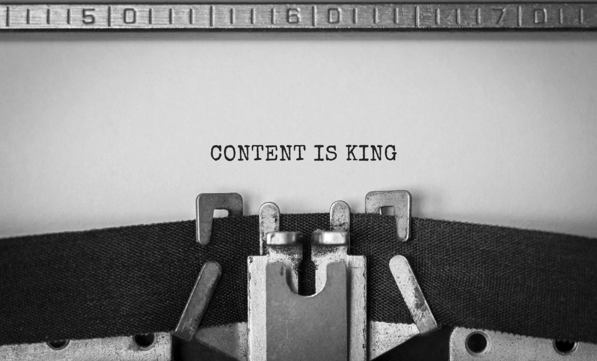 Text Content is King typed on retro typewriter