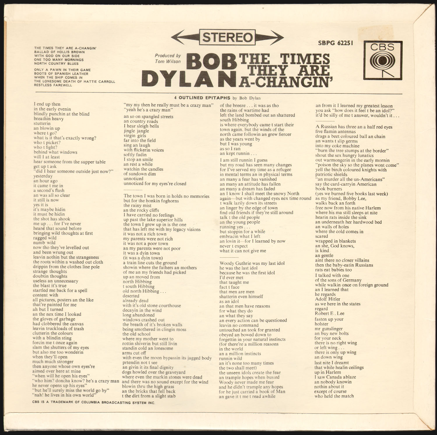 bob dylan the times they areback Dusting Em Off: Bob Dylan   The Times They Are a Changin