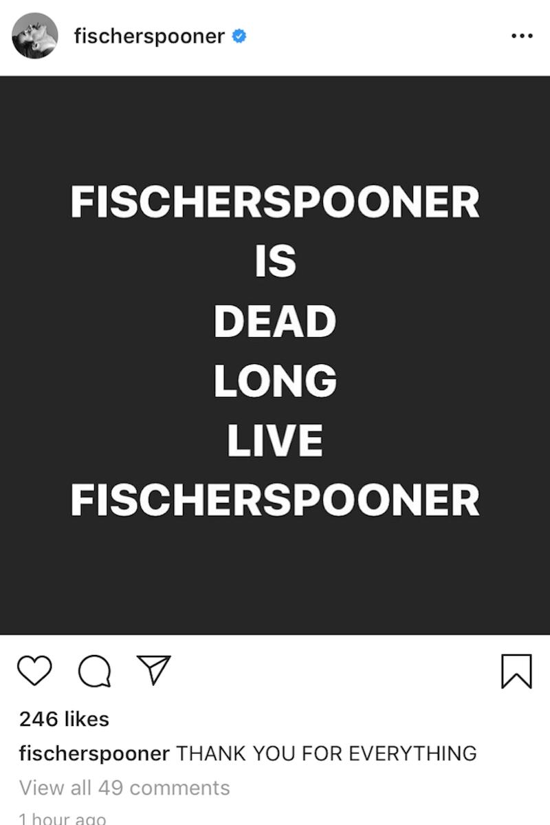 fischerspooner breakup dead long live instagram Fischerspooner have broken up