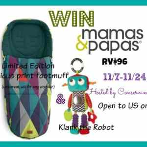 Mamas & Papas Limited Edition Atticus FootCot  &  Klank the Robot toy giveaway ends 11/24