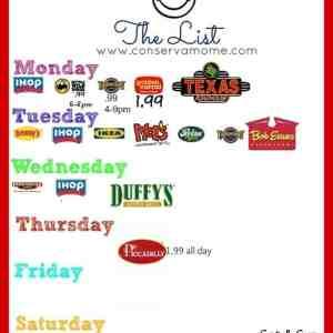 Where Kids Eat Free- The List