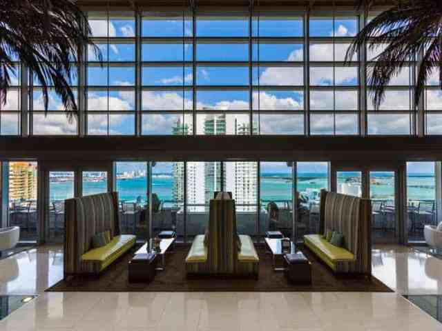 In the heart of downtown Miami's financial district,  featuring views of the city and Bay of Biscayne,  rooftop pool and tennis and personalized service for a southern Florida getaway. A Hilton awarded 2012 Luxury Hotel of the Year!