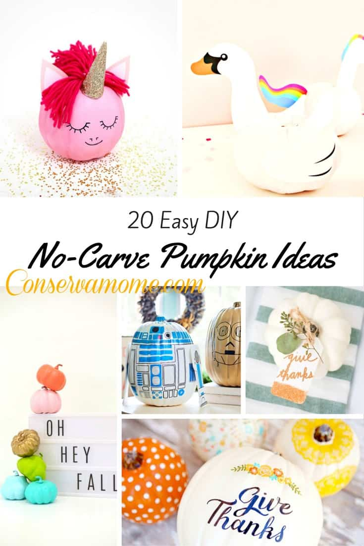 Here's a fun round up of 20 Easy DIY No Carve Pumpkin Ideas that will be perfect for any Fall/Halloween Decor.