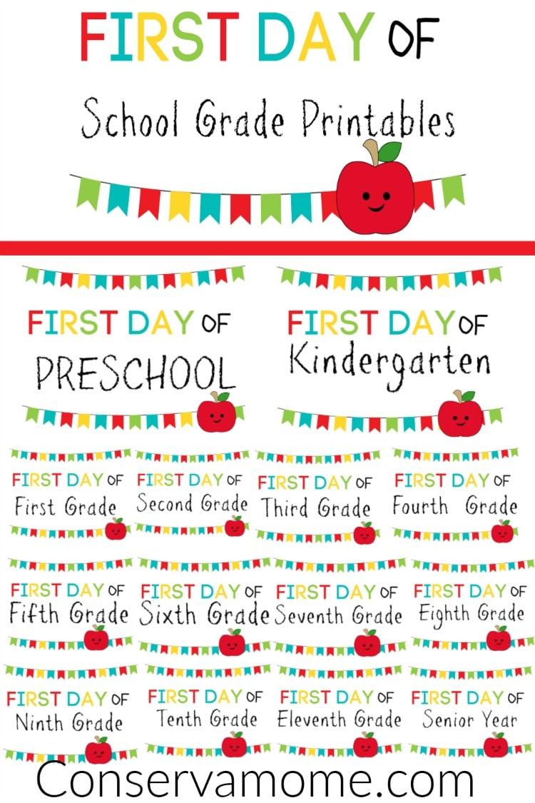medium resolution of ConservaMom - Free Printable First Day of School Signs PreK-12th Grade -  ConservaMom