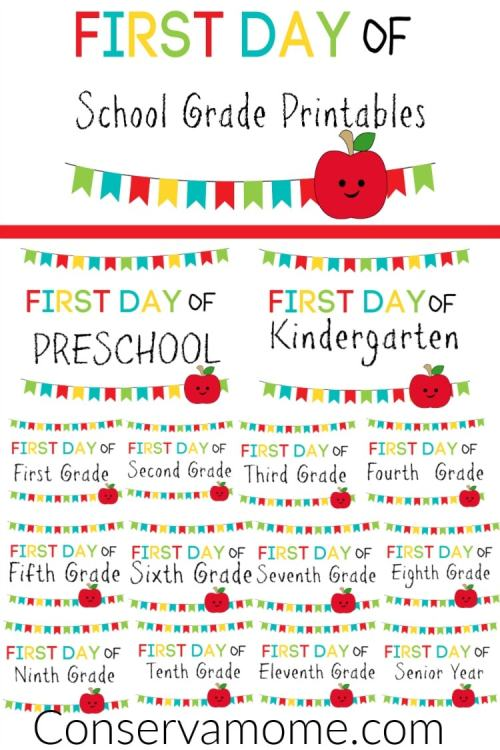 small resolution of ConservaMom - Free Printable First Day of School Signs PreK-12th Grade -  ConservaMom