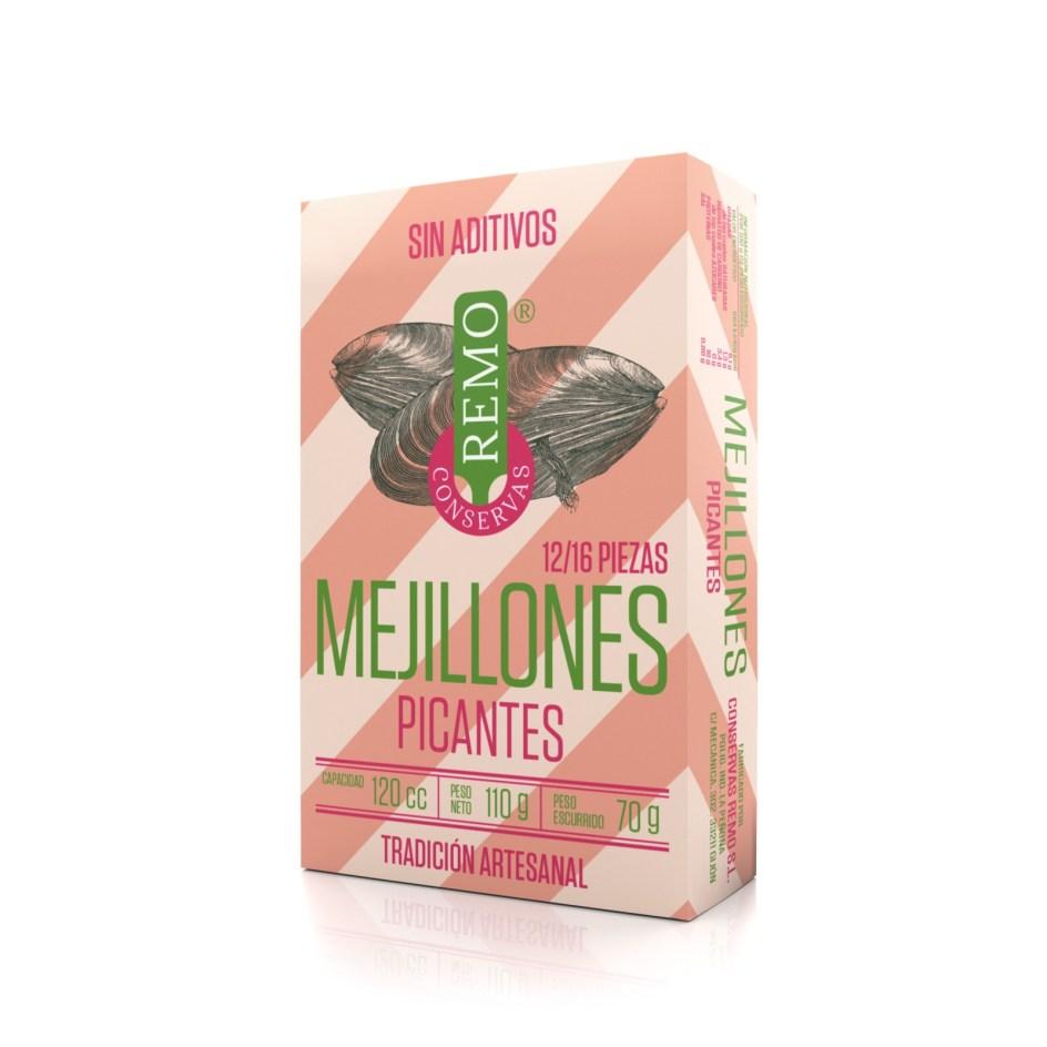 Mejillones Picantes (12/16 piezas). Lata 110 g