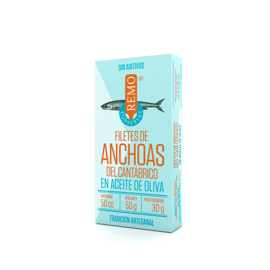 FIletes de Anchoas del Cantábrico en Aceite de Oliva. Lata 50 g