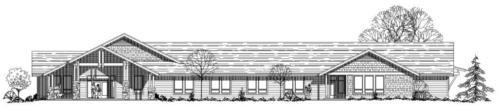 Rendering of the front of the Conservation Resource Center - facing Beavercreek Road