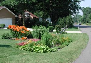 Rain gardens beautify home landscapes.
