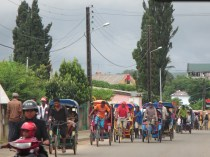Rickshaws were a common form of transport in a few towns