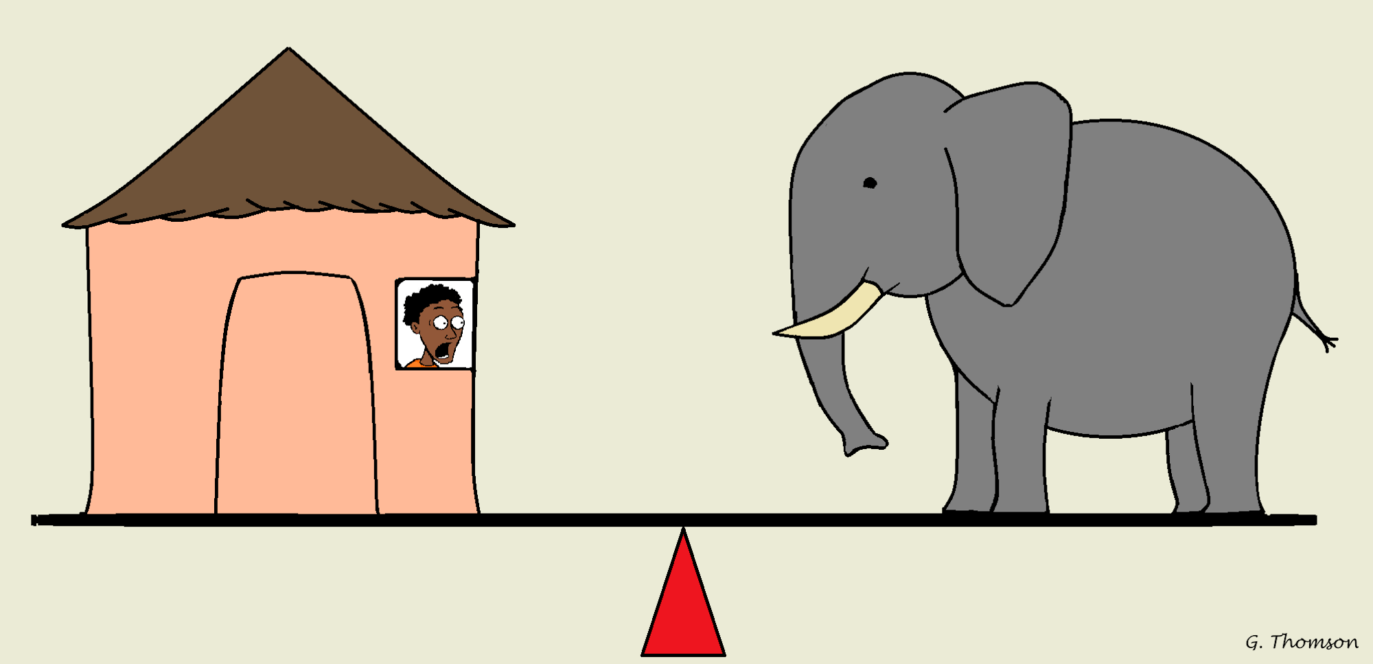 A cartoon depicting an elephant and a terrified villager balancing on a seesaw.