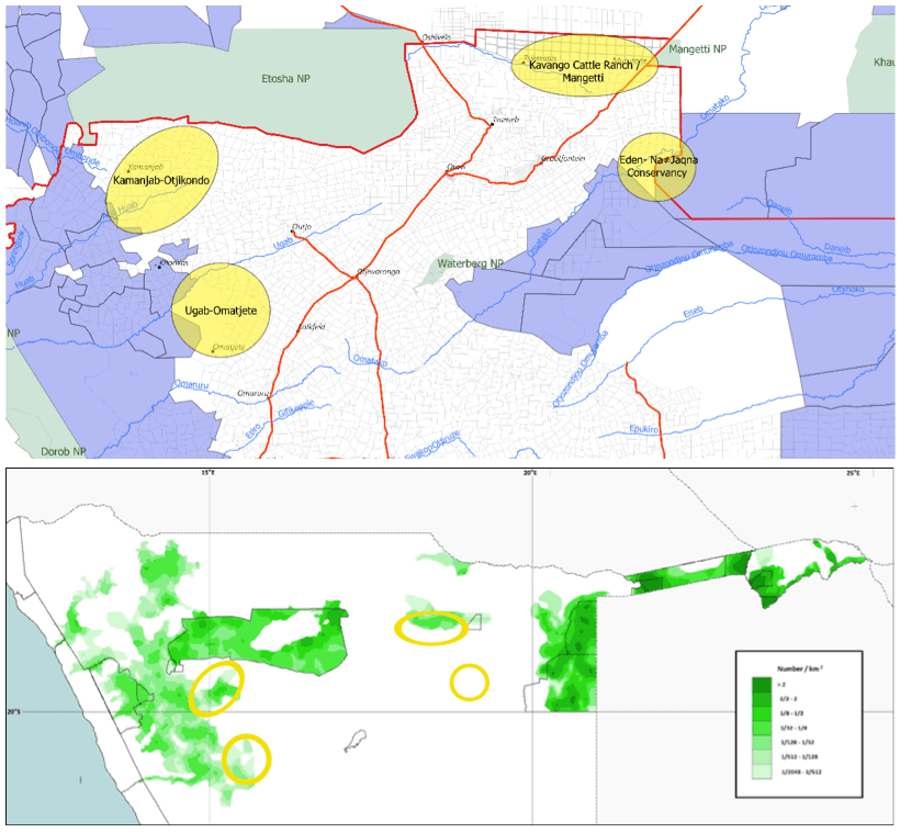 A map of northern Namibia showing the four areas of interest.
