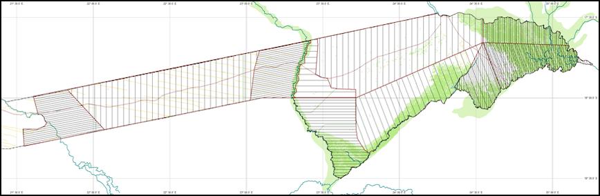 A map of the Zambezi region of Namibia.