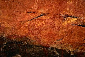 Aboriginal painting of a wallaby