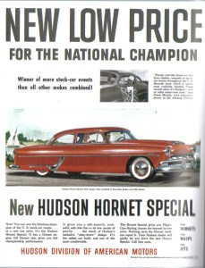 Frank Mundy appeared in this ad for Hudson automobiles. Note Confederate flag on the car door. NASCAR prohibits the flag decal on race cars and in advertising.