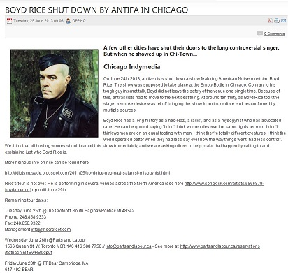 Screen capture from ARA/Antifa umbrella site that is promoted by the SPLC.