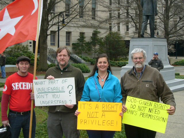 Activists demonstrate for statewide nullification of Federal laws in Columbis, South Carolina.