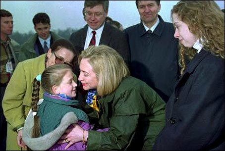 "Hillary and Chelsea Clinton dodging from ""sniper fire"" as they arrive in Bosnia."