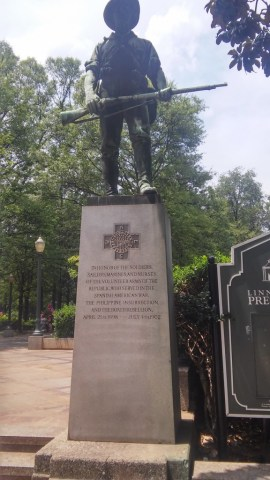 A monument in Birmingham's Linn Park celebrates American troops who put down the Boxer Rebellion