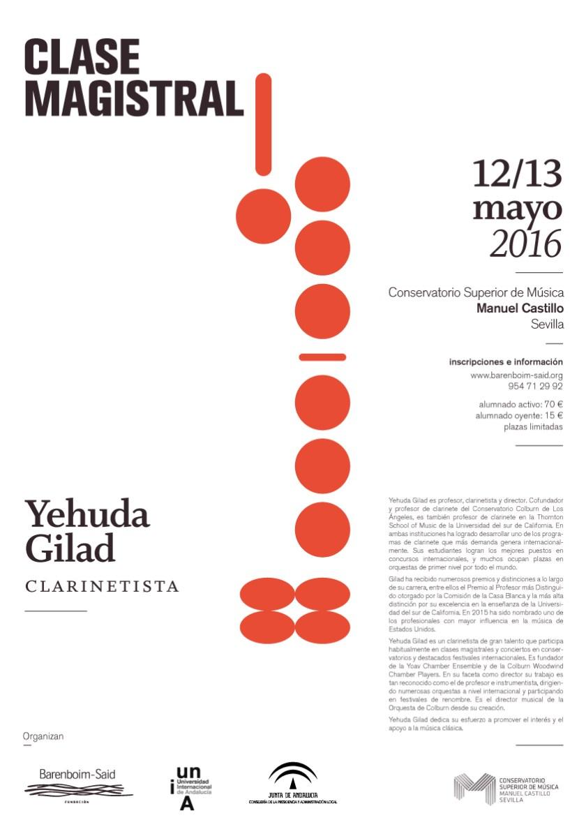 Clases magistrales de clarinete Yehuda Gilad
