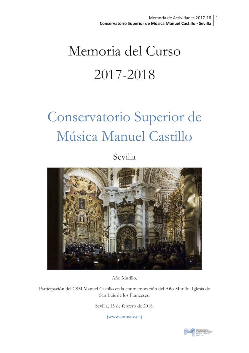 Memoria de actividades musicales y docentes (curso 2017-18)
