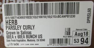 Dole Fresh Curly Parsley Recall 2021