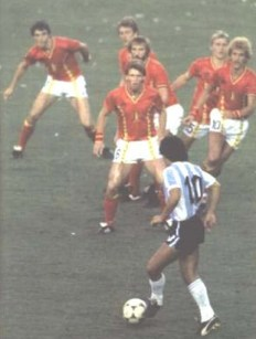 Maradonna - Invincible in the 1986 World Cup, here up against 6 Dutch players
