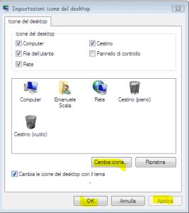 Come cambiare icone di risorse computer,di rete e cestino pieno e vuoto!!!!