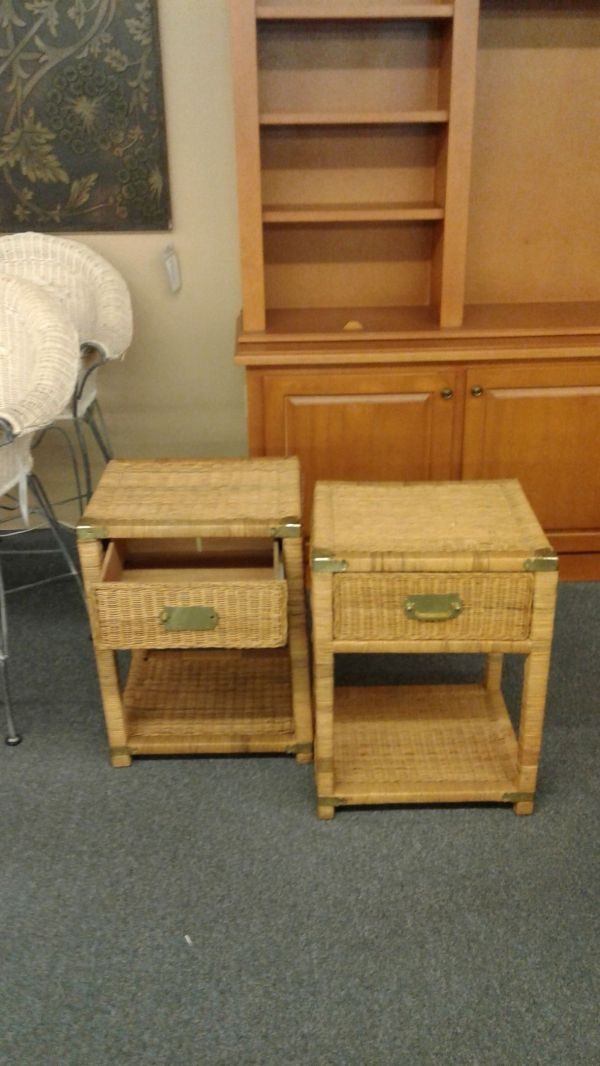 PAIR WICKER NIGHTSTANDS | Delmarva Furniture Consignment