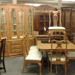 Round Glass Dining Table And Chairs Wooden Rocking Nursery Keller Oak Room Set | Delmarva Furniture Consignment