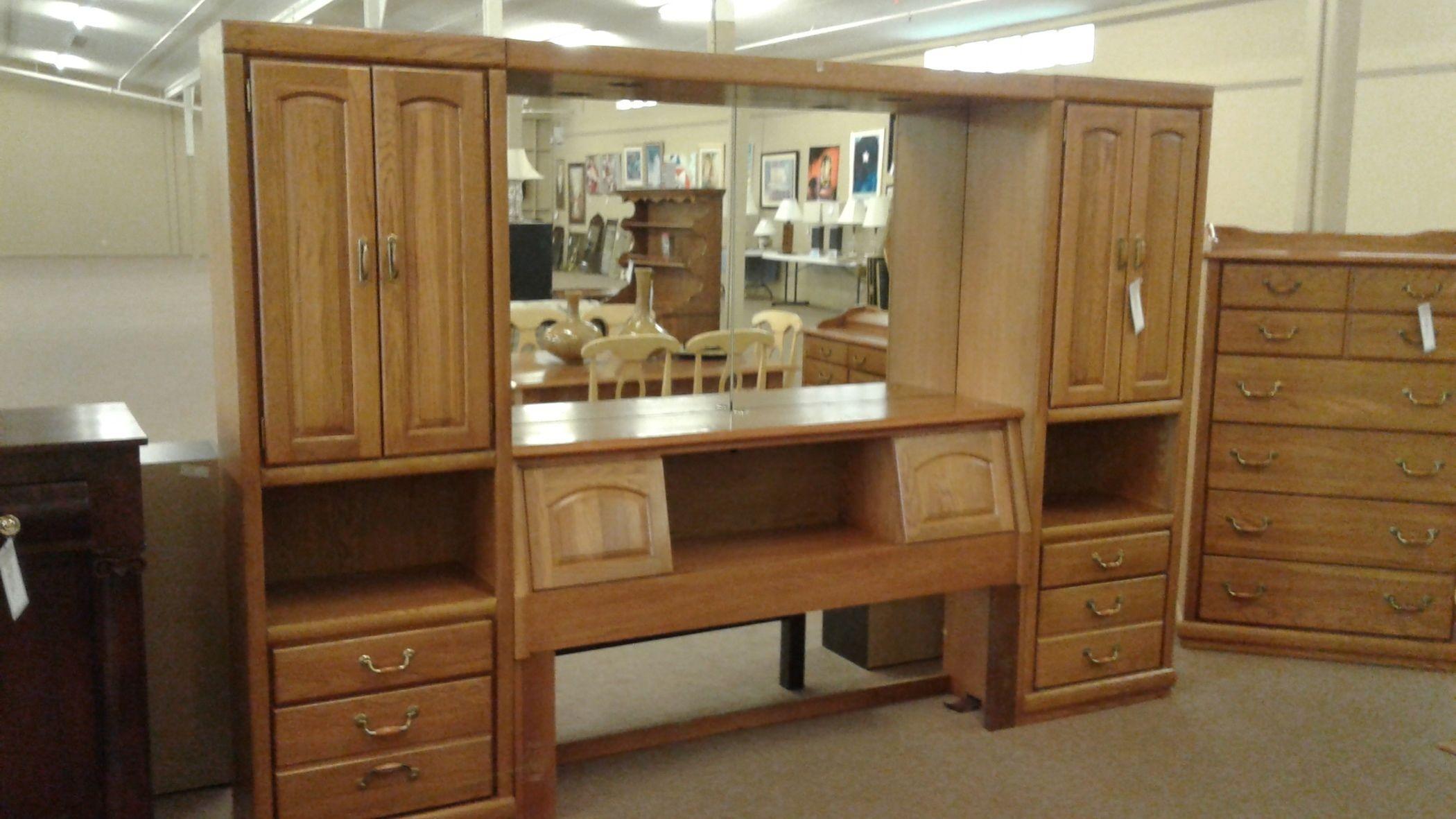Oak Queen Bookcase Headboard Delmarva Furniture Consignment