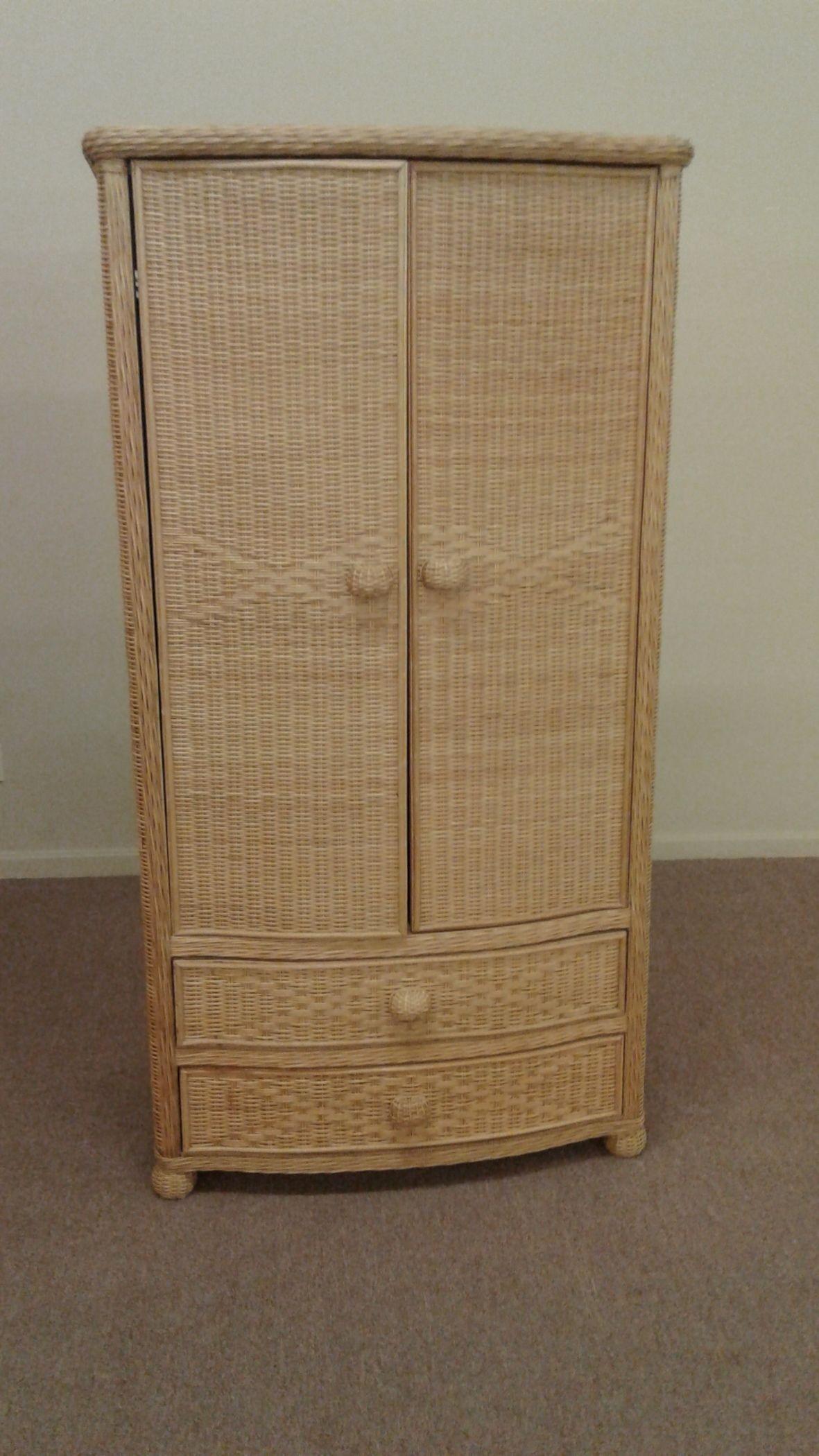 NATURAL COLOR WICKER ARMOIRE  Delmarva Furniture Consignment