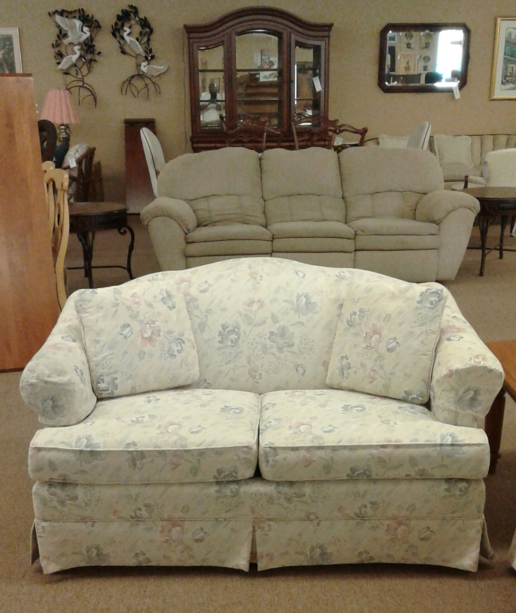 hickory chair leather couch covers online camel back sofa & loveseat | delmarva furniture consignment