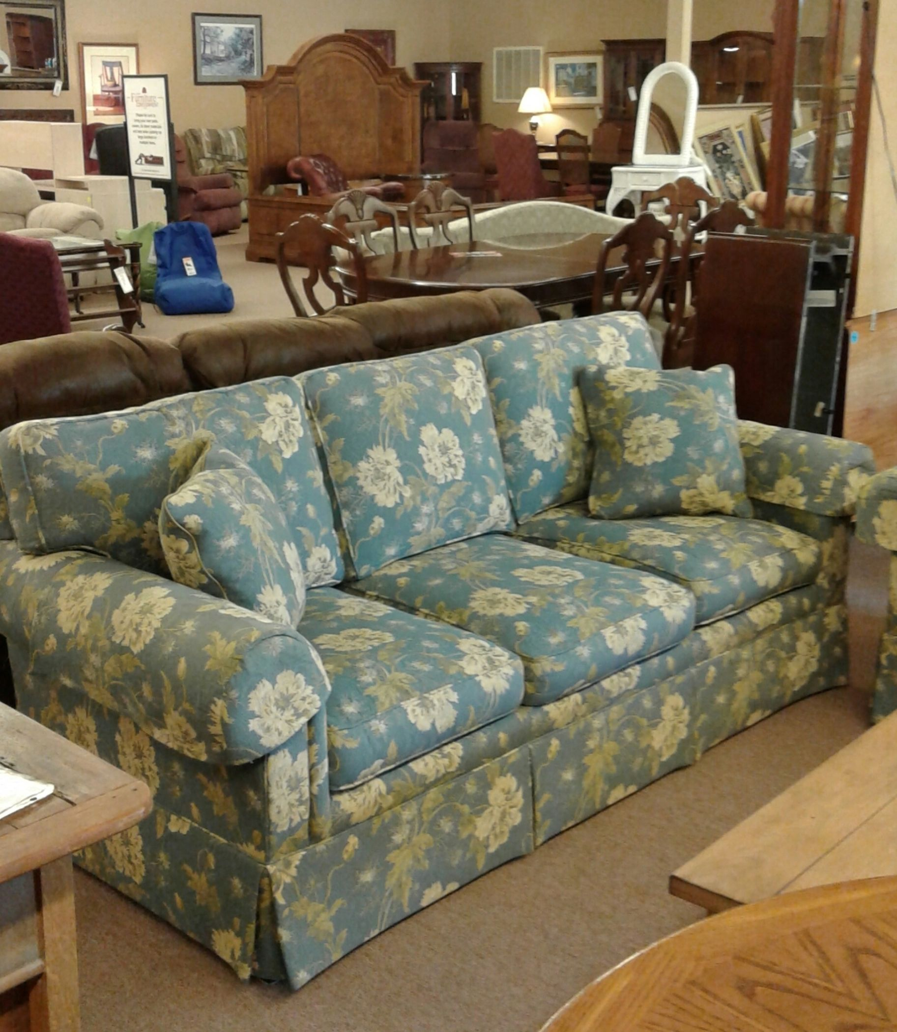 taylor king sofas leather online ireland sherrill blue floral sofa | delmarva furniture consignment