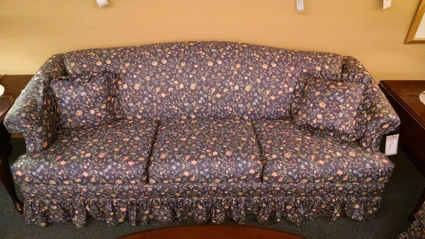FLORAL PRINT BLUE SOFA Delmarva Furniture Consignment