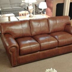 Leather Nailhead Sofa Set Amalfi Bonded Loveseat Picasso Cognac | Delmarva Furniture Consignment