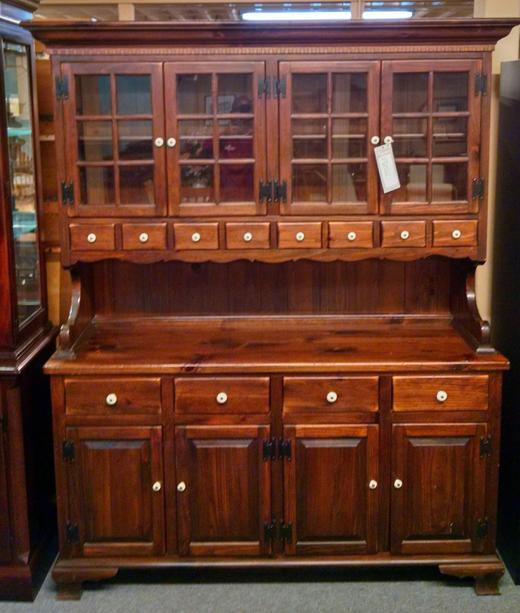 ETHAN ALLEN PINE CHINA HUTCH  Delmarva Furniture Consignment