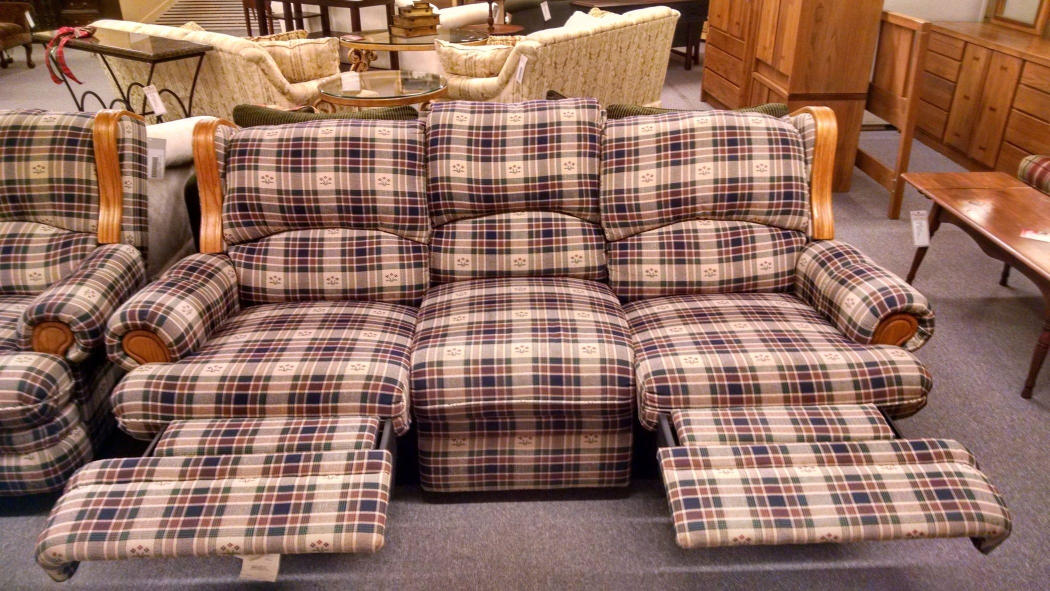 taylor king sofas 3 seat individual cushion sofa covers berkline country plaid | delmarva furniture consignment
