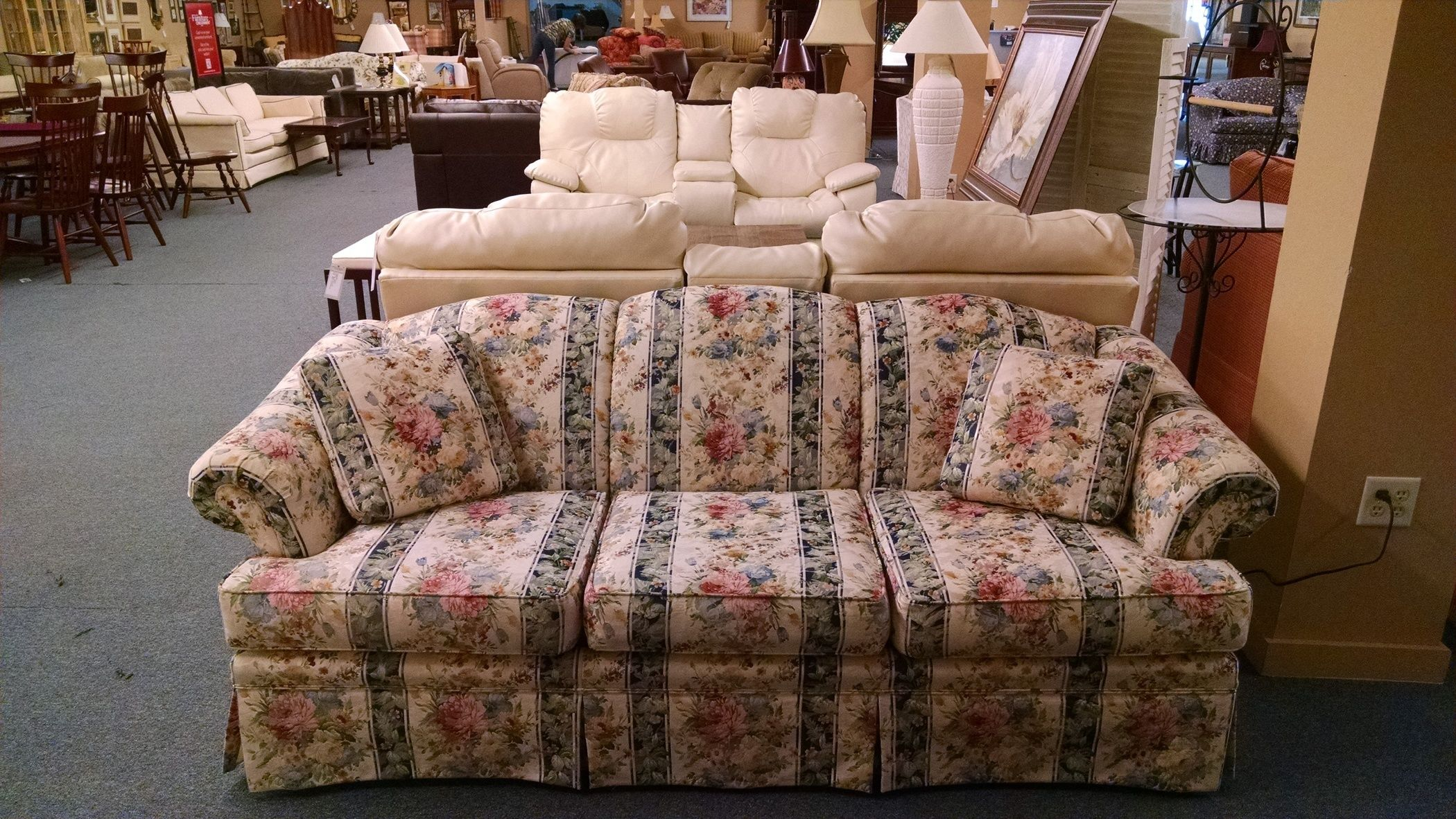 green floral sofa brown vine leather broyhill striped delmarva furniture consignment