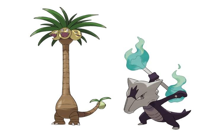 Exeggutor de Alola (Planta/Dragón) y Marowak de Alola (Fuego/Fantasma).