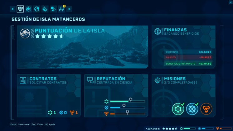 Jurassic World Evolution Gestión