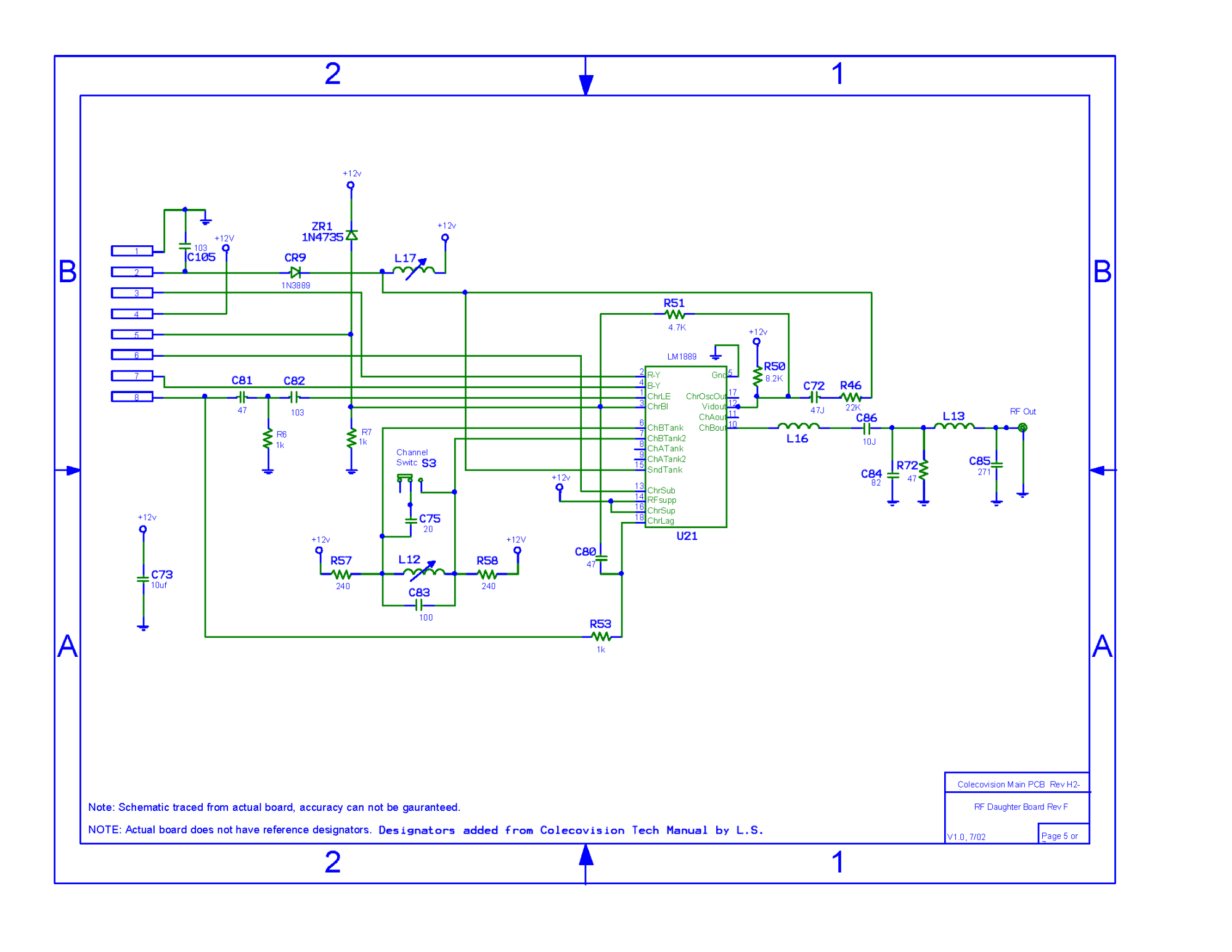 hight resolution of colecovision main pcb schematic rev h2 1