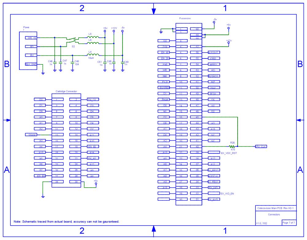 medium resolution of colecovision main pcb schematic rev h2 1 power