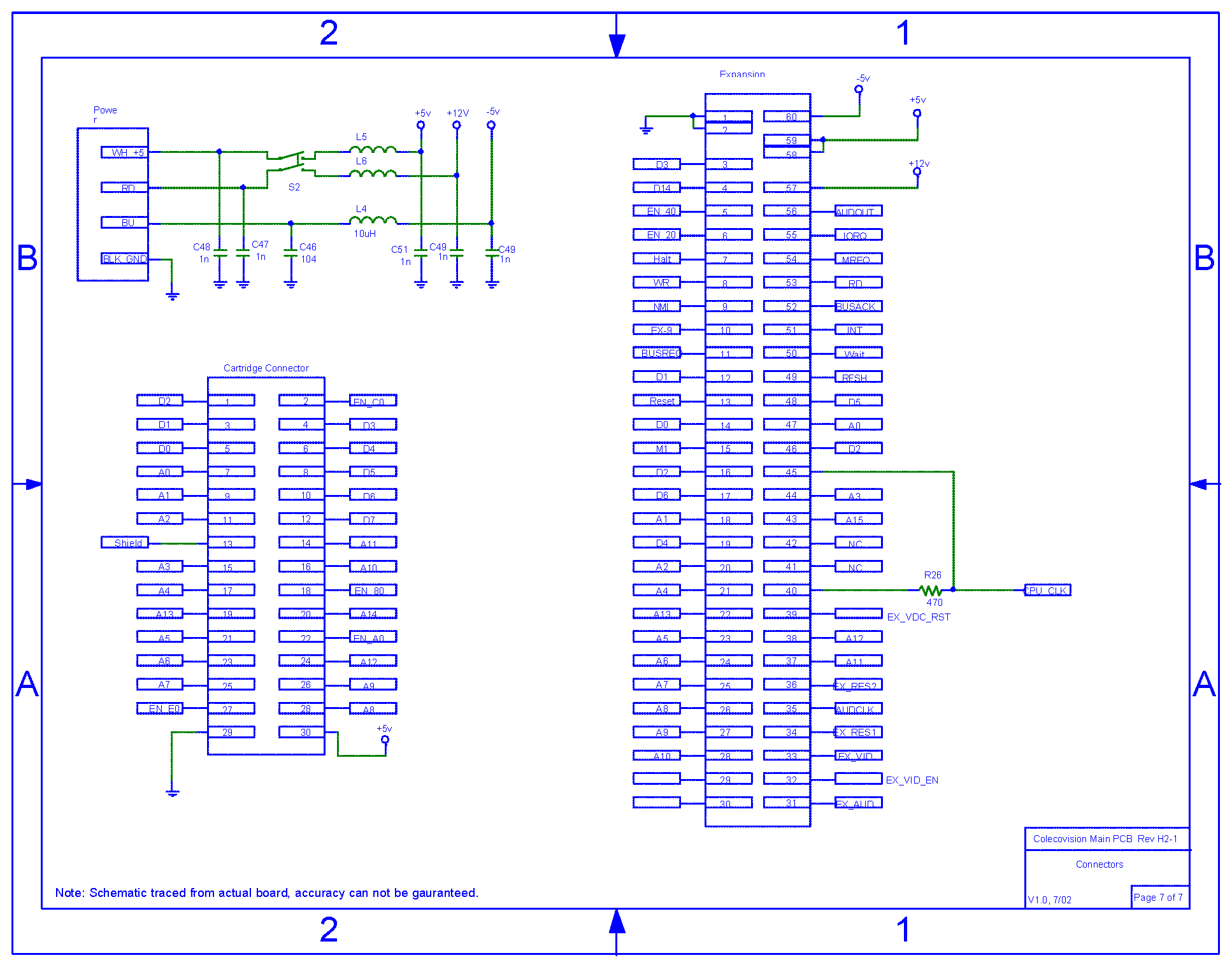 hight resolution of colecovision main pcb schematic rev h2 1 power