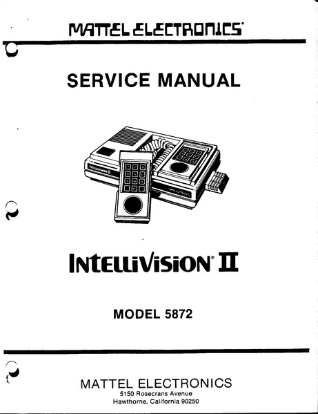 File:Intellivision II Service Manual, Model 5872.pdf