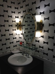 Bow patterned wallpaper in the restroom