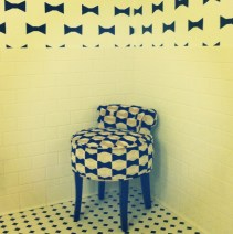 Matching bow chair in the restroom