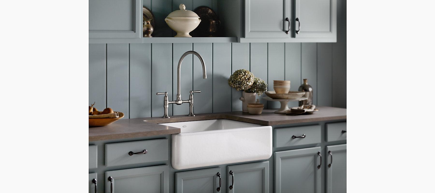 single bowl cast iron kitchen sink decorating kitchens whitehaven ® under-mount apron front ...