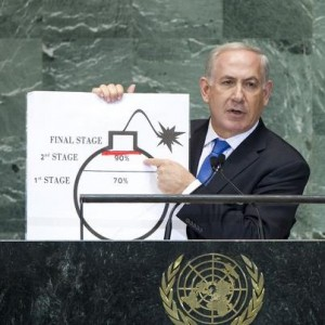"""Israeli Prime Minister Benjamin Netanyahu at the United Nations in 2012, drawing his own """"red line"""" on how far he will let Iran go in refining nuclear fuel."""