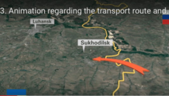 Screen shot from the Joint Investigation Team's video report citing where a Russian Buk missile battery allegedly crossed into eastern Ukraine.